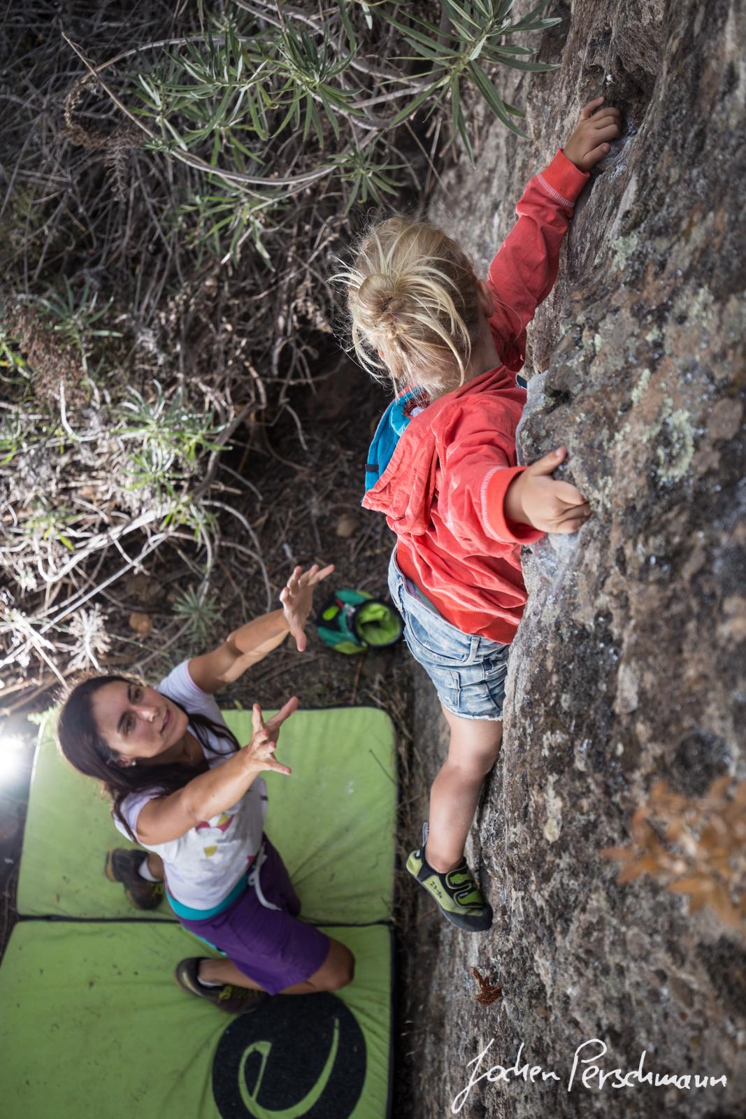 """Paula making the first ascent of """"Einhorn"""""""