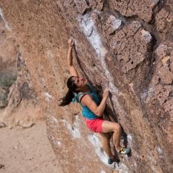 "Miriam Perschmann sending ""Solarium, V4"" Happy Boulders"